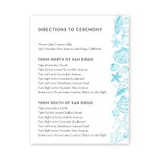 letterpressed sea shells - direction cards