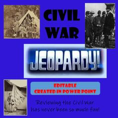 Civil War Jeopardy Civil War Activities, Jeopardy Questions, Map Skills, Famous Names, Review Games, Reading Fluency, Sight Words, Book Authors, First They Came