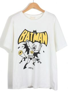 White Short Sleeve BATMAN Print T-Shirt