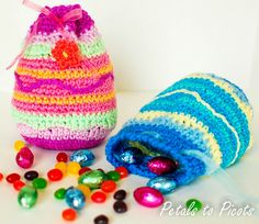 Free Crochet Pattern: Easter Egg Treat Bag...these are so sweet, and they look like they would work up quickly.