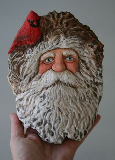 WOOD Carved BIG Woodland SANTA w Cardinal Bird Wood Spirit Lisa Rogers ORIGINAL in Art, Collectibles | eBay