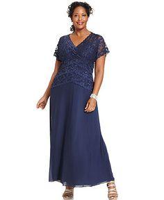 Marina Plus Size Dress, Cap-Sleeve Lace Gown - Plus Size Dresses - Plus Sizes - Macy's