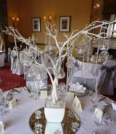 We offer a wide range of contemporary centrepieces for hire which magically transform your venue Tree Centerpieces, Wedding Centerpieces, Wedding Table, Table Decorations, White Wedding Decorations, Glass Tea Light Holders, Tree Table, Table Centers, Different Flowers