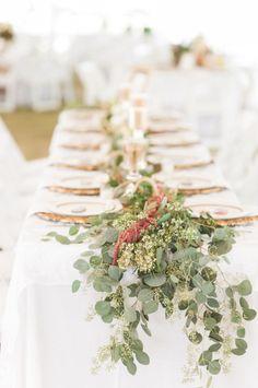 Rustic garland topped tablescape: http://www.stylemepretty.com/texas-weddings/knickerbocker/2016/03/10/west-texas-ranch-wedding-full-of-rustic-elegance/ | Photography: NBarrett - http://nbarrettphotography.com/