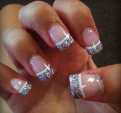 french tip nails with glitter really pretty