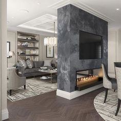 Love this idea of a two way fireplace dividing the dining room and family room. - Home Decor İdeas Dining Room Fireplace, Home Fireplace, Modern Fireplace, Fireplace Design, Home Living Room, Living Room Designs, Double Sided Fireplace, Home Interior Design, Modern Room Design