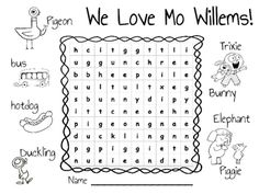 Mo Willems Word Search