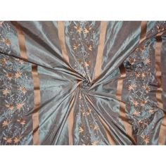 "SILK TAFFETA FABRIC BLUE X BROWN WITH GOLD SATIN STRIPE & EMBROIDERY 54"""