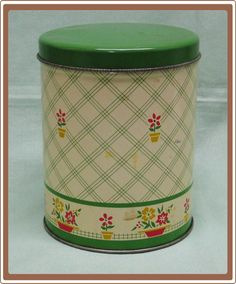 Vintage Green and Cream Flower Border Kitchen Tin Canister www.rubylane.com/... via @Ruby Lane Vintage