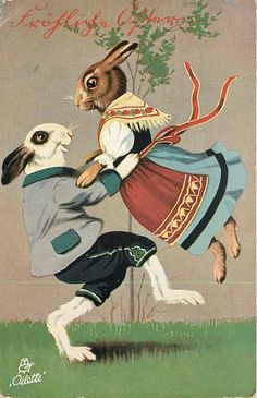 personised dancing hares, female lifted by male, they face eachother