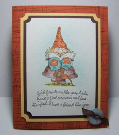 Button Knobbly Gnome. Cute button with ribbon in bottom right corner. Triple layer card.