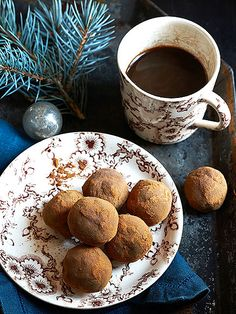 Styling Frances Boswell Gingerbread Truffles From A Couple Cooks Makes 18 truffles 1 cup pitted Medjool dates cup toasted walnuts 2 tbsp. Holiday Desserts, Holiday Cookies, Just Desserts, Holiday Recipes, Delicious Desserts, Holiday Foods, Christmas Recipes, Xmas Food, Christmas Baking
