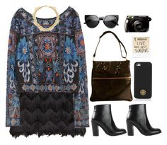 """downtown..."" by emc1397 ❤ liked on Polyvore featuring H&M, Zara, MM6 Maison Margiela, ABS by Allen Schwartz, Badgley Mischka, ZeroUV, Tory Burch, fringe, Boots and skirts"