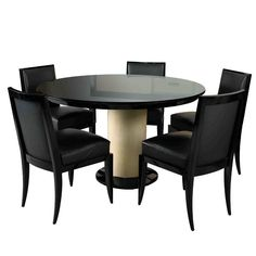 Jacques Adnet Art Deco Dining Table and 6 Chairs | From a unique collection of antique and modern dining room tables at http://www.1stdibs.com/furniture/tables/dining-room-tables/