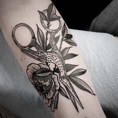 bird, scissors, and peony tattoo by Sean Wright #blackwork #linework