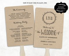 printable wedding program templates wedding fans by vinewedding