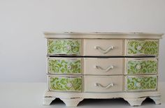 Reserved For Megan Refurbished Vintage Jewelry Box - Large Green And White Chest