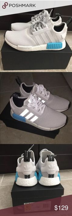 186460dac Adidas NMD R1 White Blue GS 5.5 Wmns 7 Brand New In Box 100% Authentic