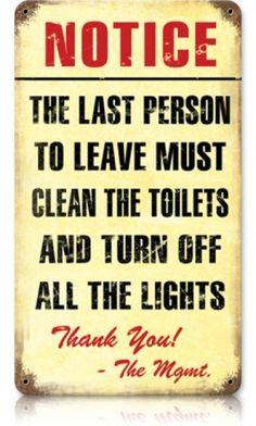 Bathroom Notice Signs restrooms to right western metal toilet bathroom retro tin sign