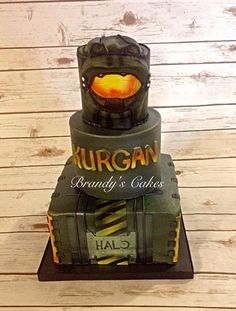Halo birthday cake done in buttercream with fondant accents. Made by Brandy's Cakes in Weatherford, TX.