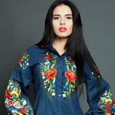 Hand embroidered ladies blouse Denim etude by Handembroiderykvitka Denim Blouse, Floral Blouse, Blouse Patterns, Blouse Designs, White Peasant Blouse, Mexican Blouse, Indian Designer Wear, Embroidered Blouse, Boho Outfits