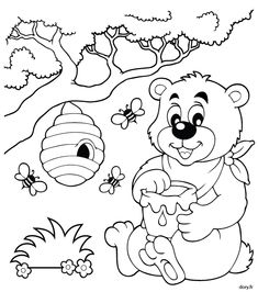 Dessin à imprimer et à colorier, un ourson, des abeilles et un pot de miel