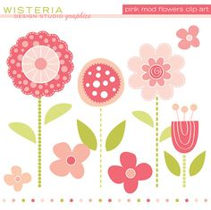 Pink Mod Flowers  Clip Art for Personal & by WisteriaDesignStudio, $5.00