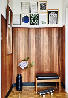 skinny paneled walls and parquet floors // fort & field Home Interior, Interior Decorating, Interior Design, Design Studio, House Design, Mural Wall Art, Midcentury Modern, Home And Living, Interior Inspiration