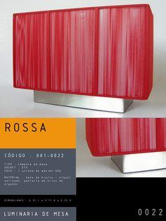 Luminaria de Mesa modelo ROSSA CÓDIGO : 001-0022 TIPO : Lámpara de mesa SOCKET : E14 FOCO : 1 unidad de máximo 60w  MATERIAL : Tela / metal DIMENSIONES : 0.35 L x 0.17 A x 0.25 H
