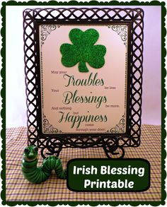 Irish Blessing Printable - add a glittered foam shamrock to make it pop!