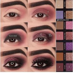 Eye makeup will enhance your beauty and also help to make you look and feel magnificent. Discover how to apply makeup so that you are able to show off your eyes and make an impression. Learn the top ideas for applying make-up to your eyes. Eye Makeup Steps, Smokey Eye Makeup, Skin Makeup, Eyeshadow Makeup, Beauty Makeup, Eyeshadows, Plum Eye Makeup, Plum Smokey Eye, Maroon Makeup