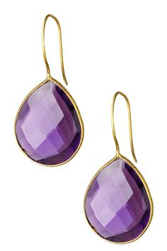 Saachi 18K Gold Plated Faceted Amethyst Drop Earrings