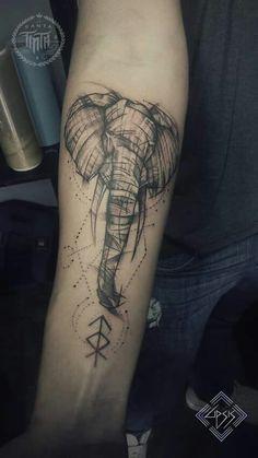 Elephant tattoo Tatuaje elefante Line work tattoo                                                                                                                                                                                 Más