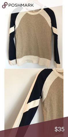 Multicolored neutral J crew sweater Cream, neutral, and navy crew neck sweater in perfect condition J. Crew Sweaters Crew & Scoop Necks
