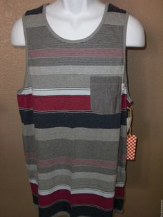 New XL Mens VANS Pocket Tank Top Off The Wall Point Loma Multi Striped Cotton #VANS #Tank
