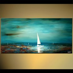Original abstract art paintings by Osnat - white sailboat seascape painting