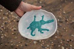 Dessert plate, trinket dish ocean aqua platter japan wabi sabi ceramic easter present ostara gift Bo #ceramicinteriordesign