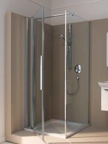 Koralle myDay Eck-Duschkabine mit Pendeltür mit Festteil Bathtub, Mirror, Bathroom, Architecture, Furniture, Home Decor, Small Farm, Shower Cabin, Bathing
