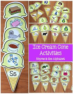 Ice cream activities for teaching rhyme and the alphabet. Great hands-on activities for centers!