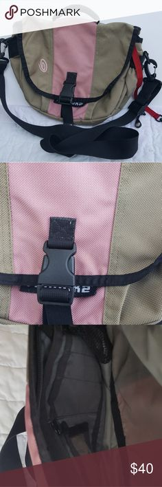 Timbuk2 Khaki and Pink Classic XS  Messenger Bag Gently used a couple of times.  It's in great condition.   Great size for a tablet. Timbuk2 Bags Crossbody Bags
