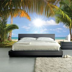 Stunning Palmy Beach Sunrise MURAL, Self-Adhesive Wall Covering, Peel And Stick Repositionable Wallpaper