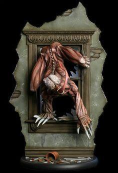 """Diorama Resident Evil. Licker, 36cm Diorama que reproduce la escena en la que Licker """"el chupón"""" entra en la mansión através de la ventana, perteneciente al videojuego Resident Evil."""