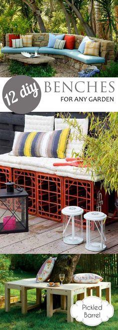 Garden furniture diy bench planters 64 new Ideas Diy Garden Furniture, Outdoor Furniture Sets, Outdoor Decor, Outdoor Benches, Garden Benches, Diy Bank, Cute Dorm Rooms, Diy Patio, Living Room Inspiration