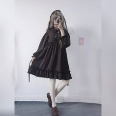 Get this Japanese Harajuku Black Bow-Knot Flounced Dress for your lolita costumes. Japanese Kawaii Fashion, Japanese Harajuku, Black Ruffle Dress, Chiffon Dress, Ulzzang Fashion, Korean Fashion, Sweet Dress, Cute Bows, Gothic Lolita
