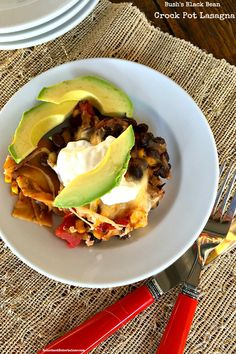 This Bush's Black Bean Crock Pot Lasagna, is easy to prepare and start cooking hours ahead of a dinner party, a great dish to serve kids. #vegetarian