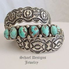 Artist Signed LO Morrison HEAVY Stamped Cuff Stacking Bracelet | Collectible Turquoise Jewelry | online upscale native American jewelry | Schaef Designs Southwestern turquoise Jewelry | New Mexico