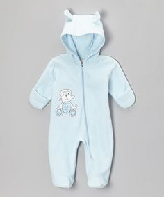 Take a look at this Blue Monkey Hooded Footie - Infant by Absorba on #zulily today!