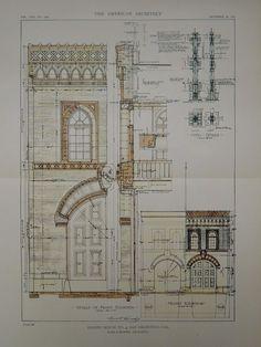 Details & Elevation, Engine House No. 4, San Francisco, CA, 1918, Original Plan. Ward & Blohme.