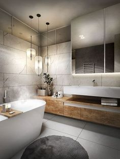 34 Popular Contemporary Bathroom Design Ideas - Contemporary lifestyle has been seen with high-tech gadgets, devices, equipments, and contemporary structural designs. The bathroom naturally has not . Master Bedroom Bathroom, Modern Master Bathroom, Bathroom Layout, Modern Bathroom Design, White Bathroom, Bathroom Interior Design, Small Bathroom, Minimal Bathroom, Bathroom Ideas