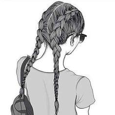 New beautiful art drawings sketches pens ideas Tumblr Girl Drawing, Tumblr Sketches, Girl Drawing Sketches, Tumblr Drawings, Cute Girl Drawing, Girly Drawings, Outline Drawings, Girl Sketch, Pencil Art Drawings